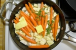 Ready to braise the root vegetables.