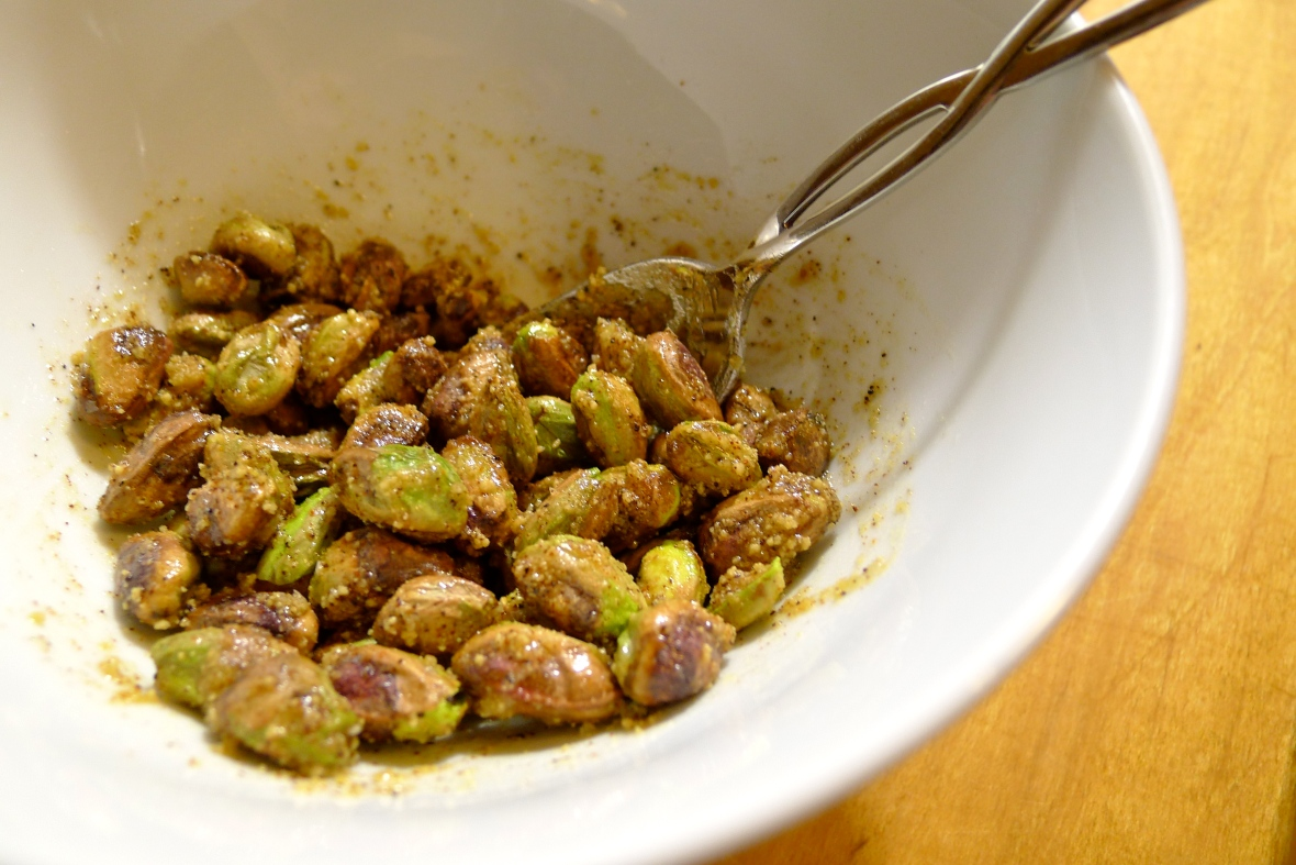 Toss the pistachios in maple sugar and chipotle powder.