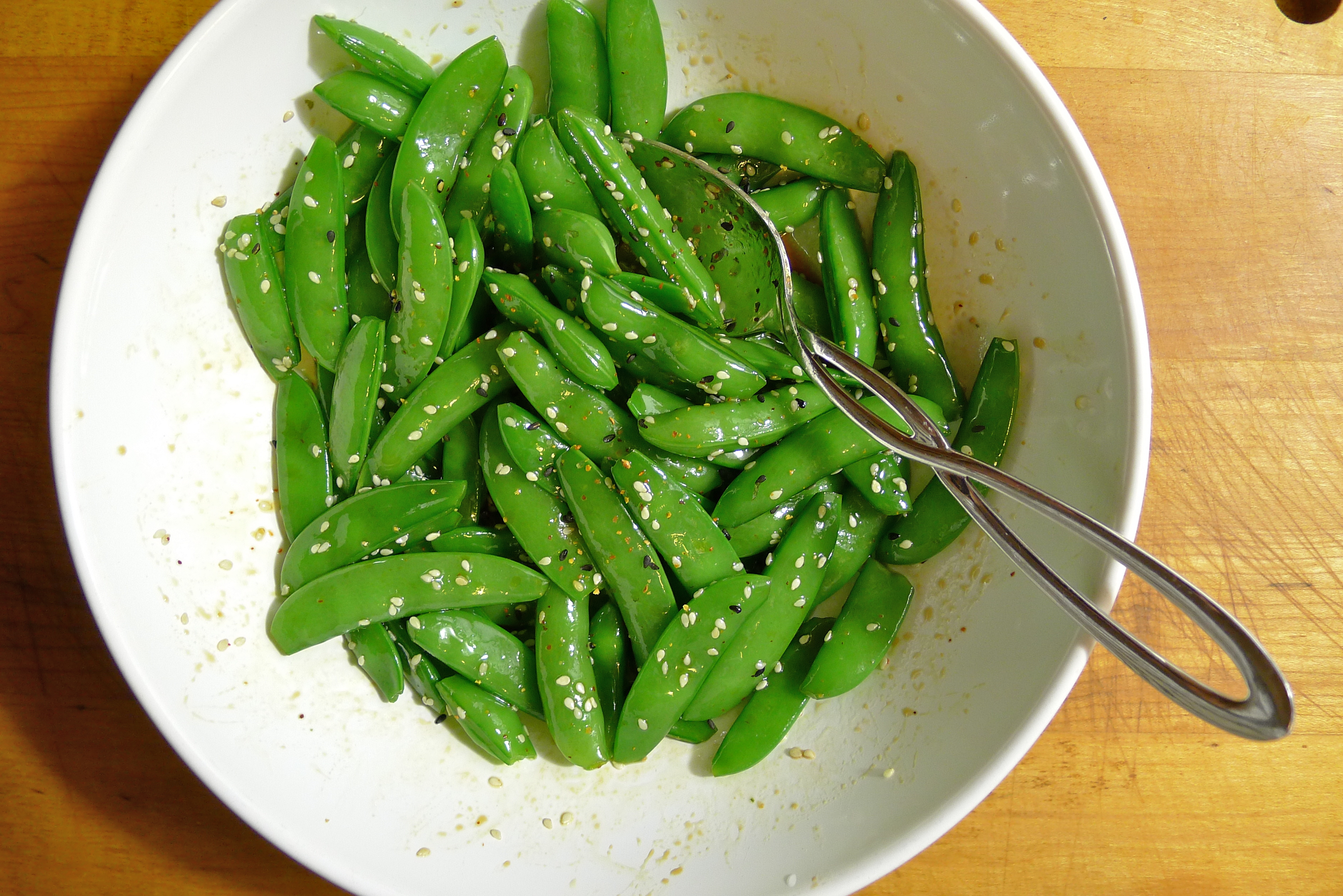 Sugar Snap Peas with Sesame, Soy Sauce and Mirin | coolcookstyle