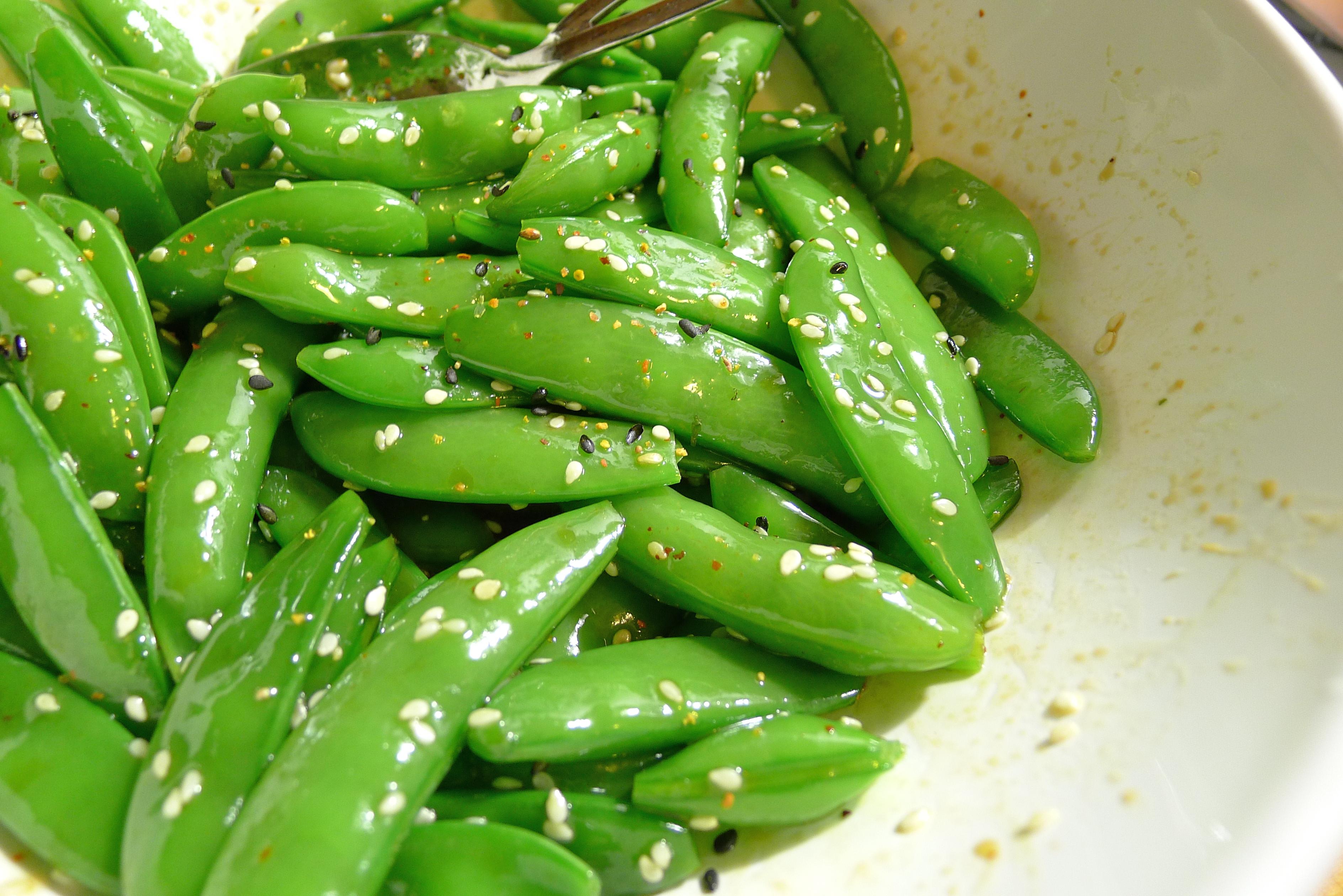 Soy Sesame Sugar Snap Peas Recipe — Dishmaps