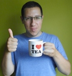 And we heart his coffee/tea mug!