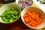 Prepping the vegetables.