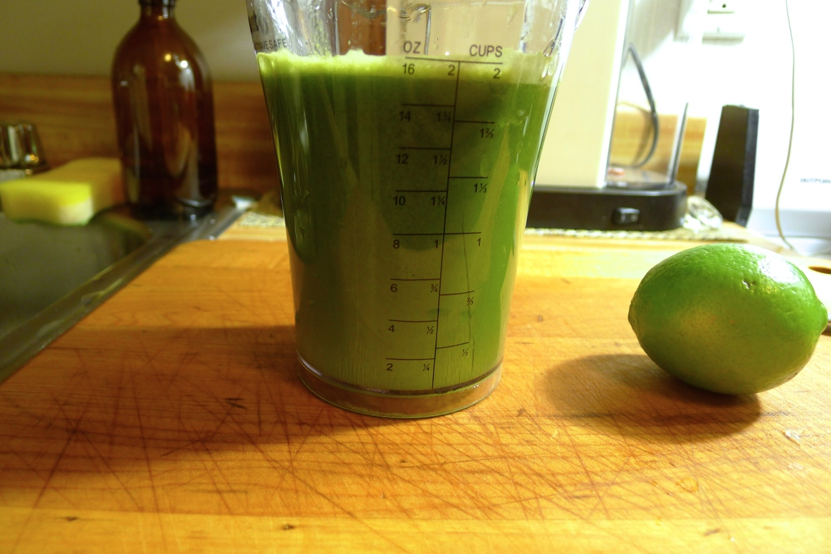 Add the lime juice to the basil slurry.