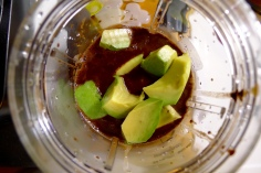 Blend the coconut-chocolate mixture with the avocados until creamy.
