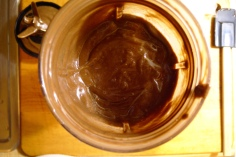 The consistency of chocolate pudding.